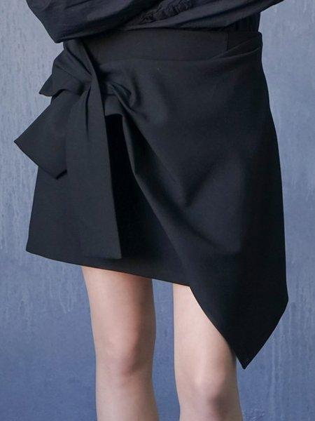 Black Casual Bow Asymmetrical Mini Skirt