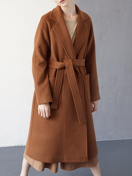 Buttoned Casual Wool Blend Raglan Sleeve Coat With Belt