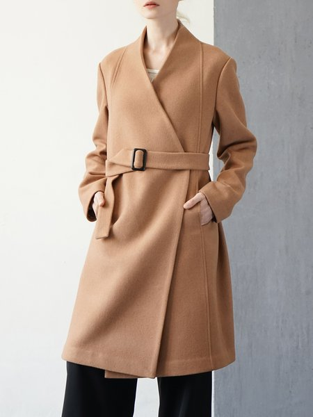 Solid Wool Blend H-line Long Sleeve Simple Coat With Belt