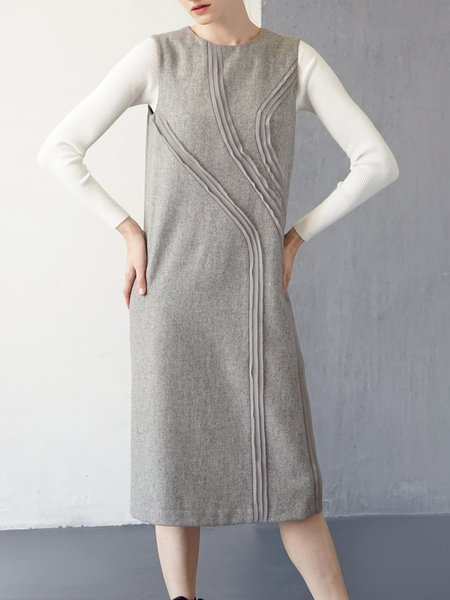 Gray Casual Appliqued Wool Blend Sleeveless Midi Dress