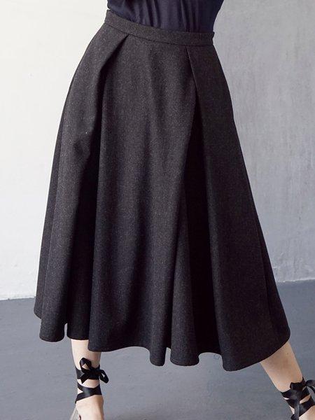 Black Casual Wool Blend Folds Midi Skirt