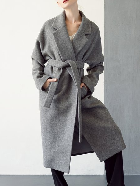 Gray Wool Blend Long Sleeve Pockets Lapel Coat