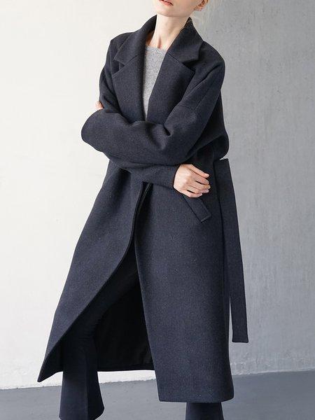 H-line Long Sleeve Simple Pockets Wool-blend Coat