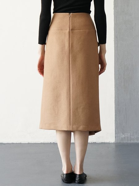 Camel Plain Pockets Simple A-line Midi Skirt - StyleWe.com