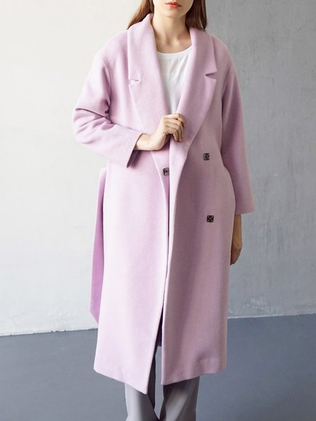 Wool Blend Solid Elegant Long Sleeve Coat With Belt