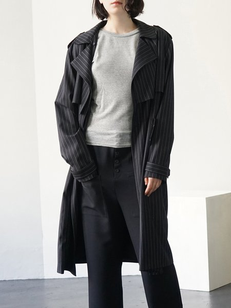 Buttoned Lapel Stripes Long Sleeve Casual Coat