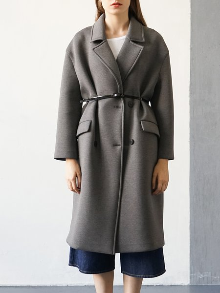 Gray Casual H-line Pockets Coat