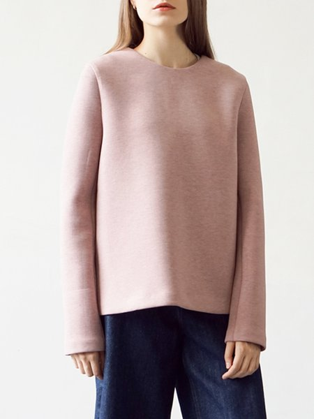 Pink Crew Neck Casual Solid Long Sleeve Top