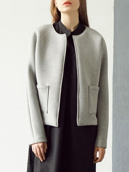 Binding Long Sleeve Simple Coat