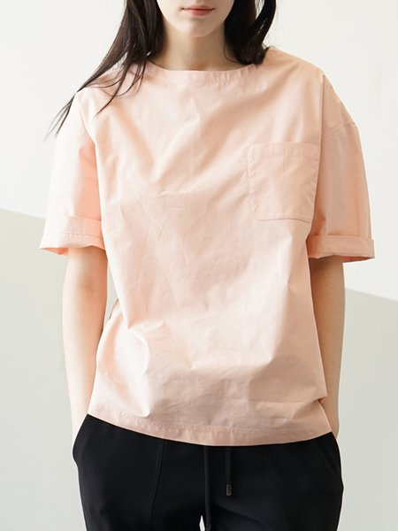 Pink Pockets Short Sleeve Plain Blouse