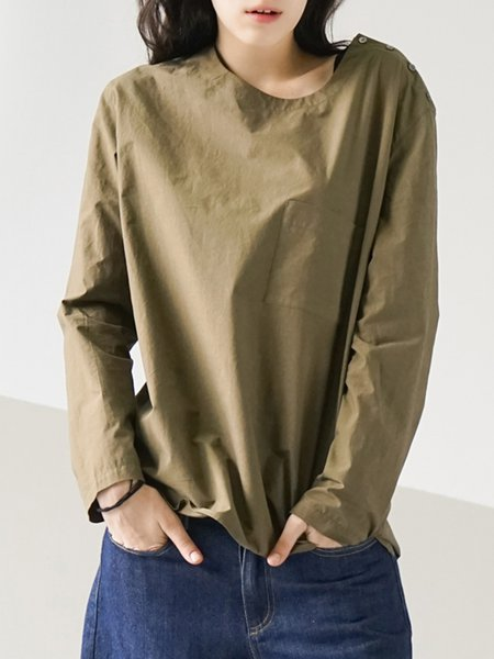 Green Plain Simple Crew Neck Pockets Blouse