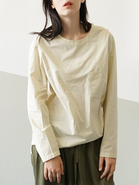 Apricot Simple Pockets Blouse