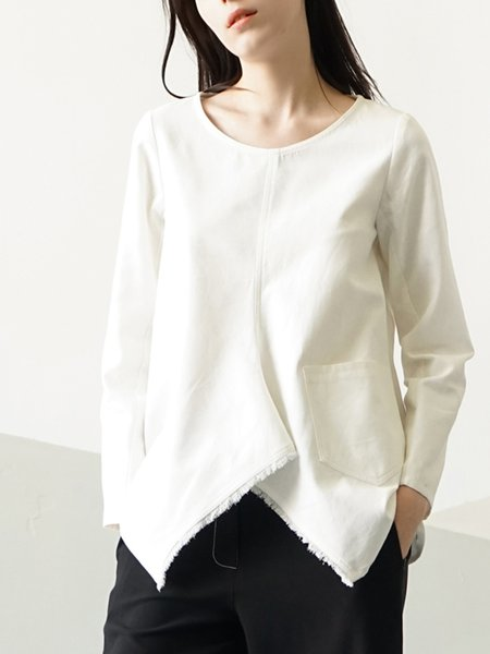 White Plain Cotton Long Sleeve Blouse