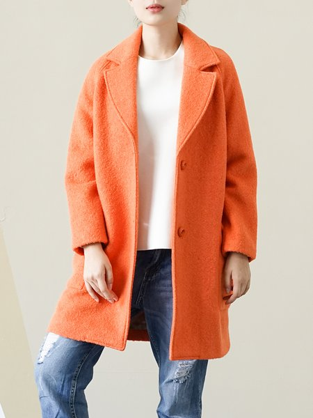Orange Long Sleeve Wool Blend Lapel Coat