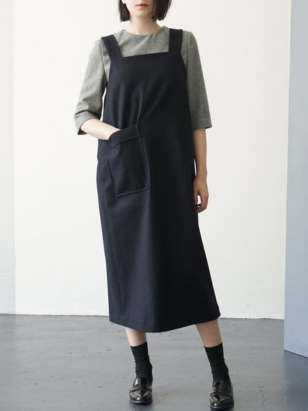 Gray Casual Pockets Midi Dress