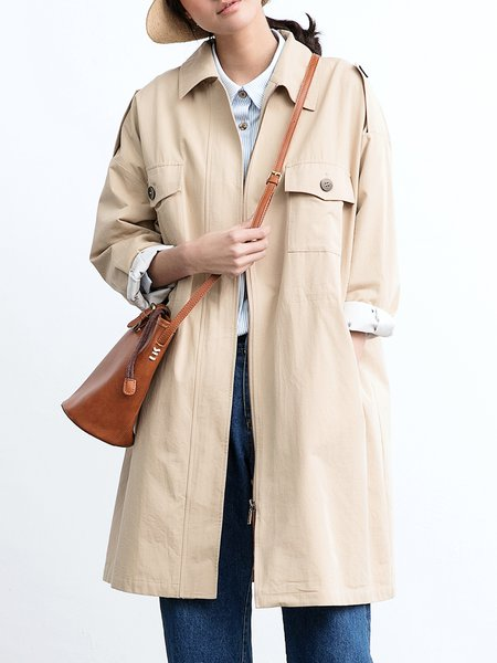 H-line Shirt Collar Cotton Long Sleeve Simple Coat