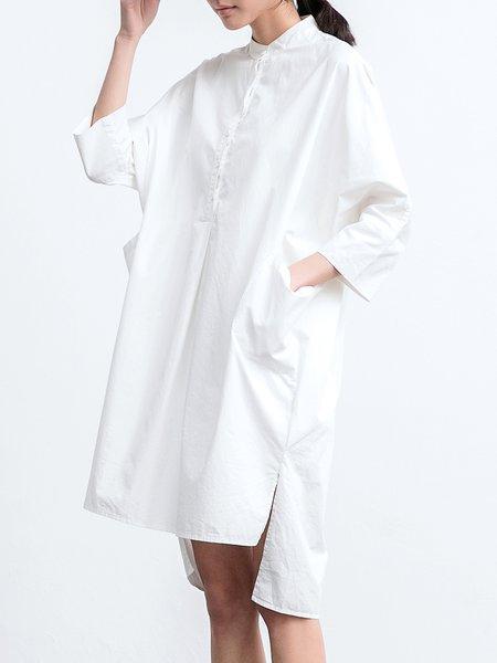 White Cotton Long Sleeve High Low Pockets Midi Dress