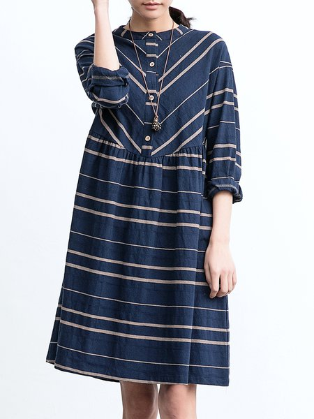 Stripes Cotton Long Sleeve Buttoned Casual Midi Dress