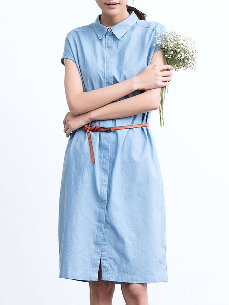 Simple Solid Short Sleeve Shirt Dress