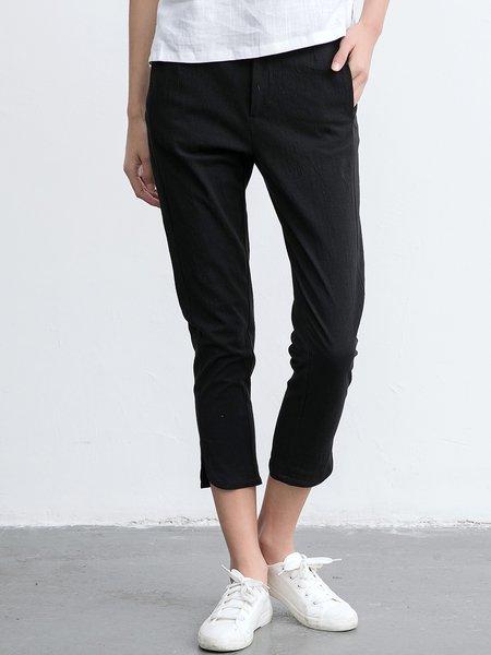 Cotton-blend Simple Sheath Straight Leg Pants
