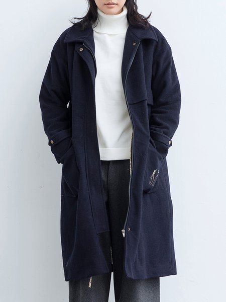 Navy Blue Casual H-line Embroidered Coat