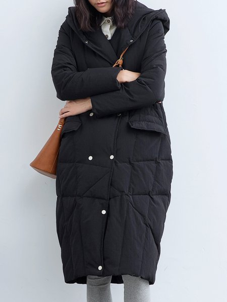 Black Cocoon Casual Nylon Hoodie Down Coat
