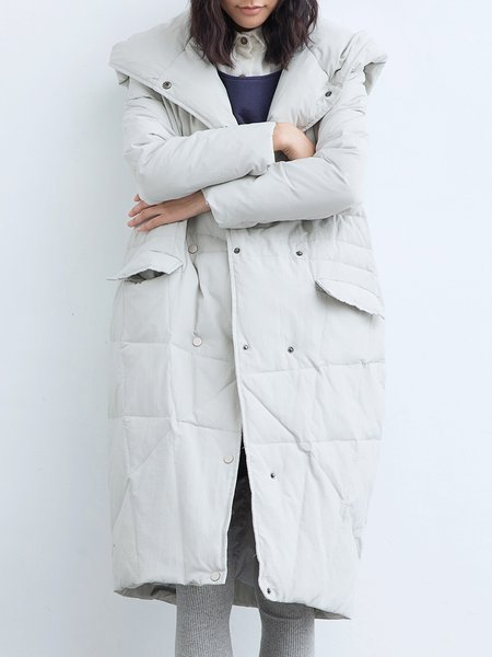Light Gray Hoodie Solid Casual Down Coat