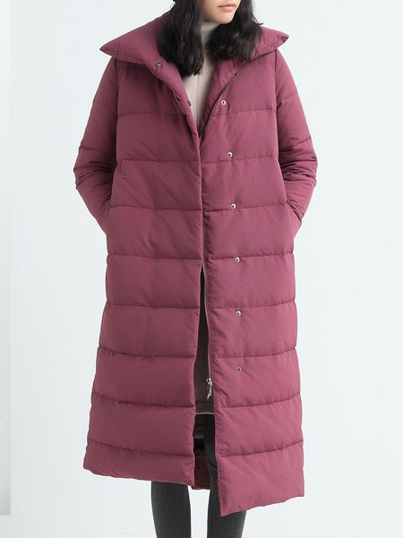 Wine Red Casual Pockets Solid H-line Down Coat