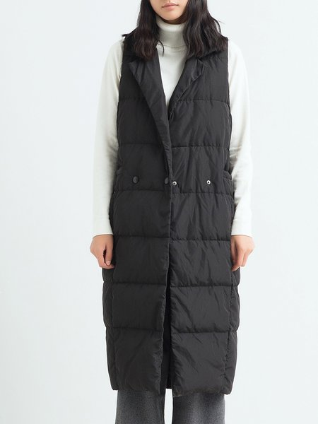 Black Buttoned Sleeveless Cocoon Solid Down Coat