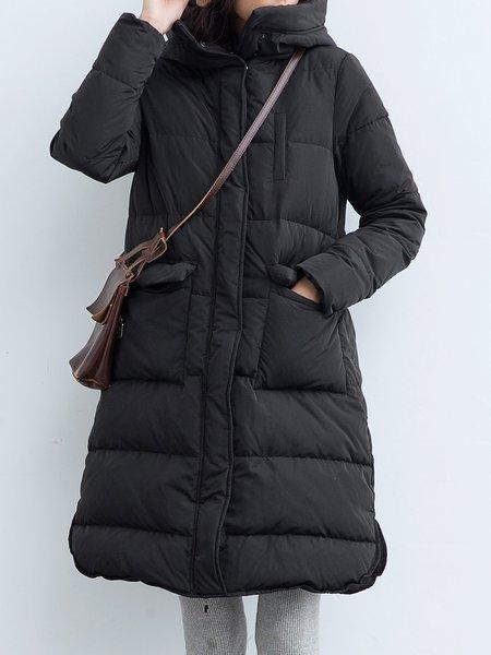 Black Hoodie Long Sleeve A-line Solid Down Coat