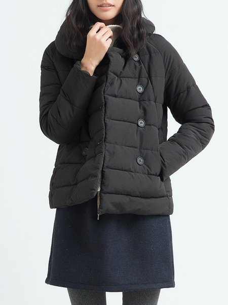 Black Peter Pan Collar Raglan Sleeve Down Coat