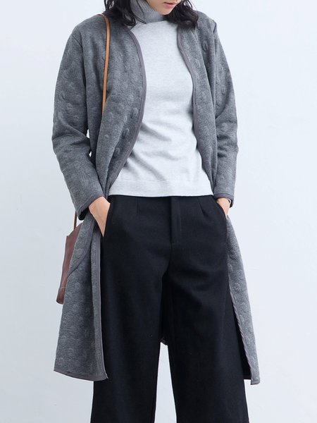 Long Sleeve Embossed Cotton-blend Casual Coat