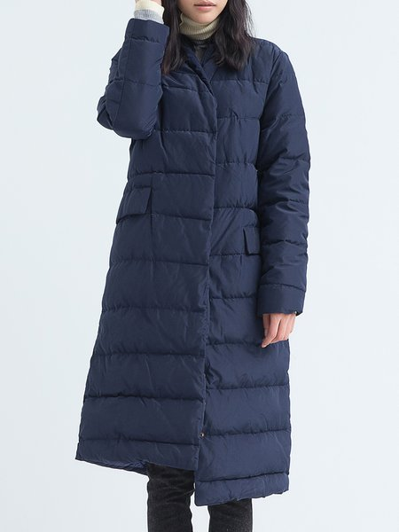 Navy Blue Casual Stand Collar Plain Down Coat