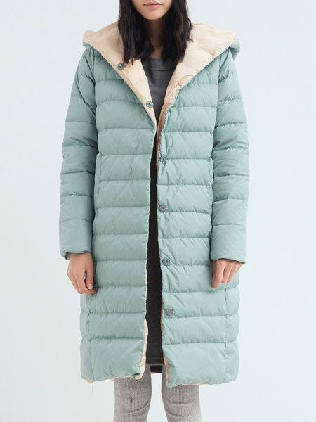 Aqua Blue Hoodie Casual Pockets Down Coat