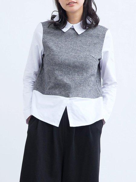 Gray Plain Cotton Casual Paneled Long Sleeve Top