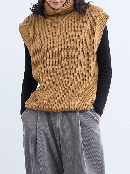 Coffee Turtleneck Solid Casual Knitted Sweater