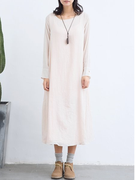 Beige Cotton-blend Shift Long Sleeve Solid Maxi Dress