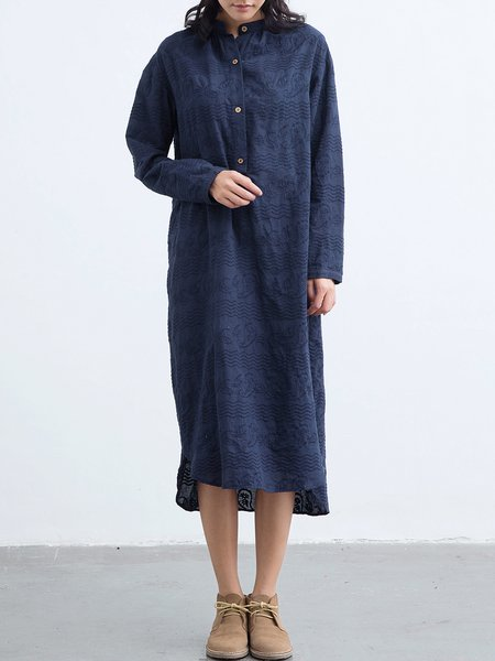 Dark Blue Embroidered Cotton Long Sleeve Maxi Dress