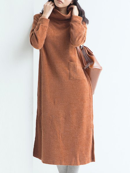 Camel Solid Simple Cowl Neck Midi Dress