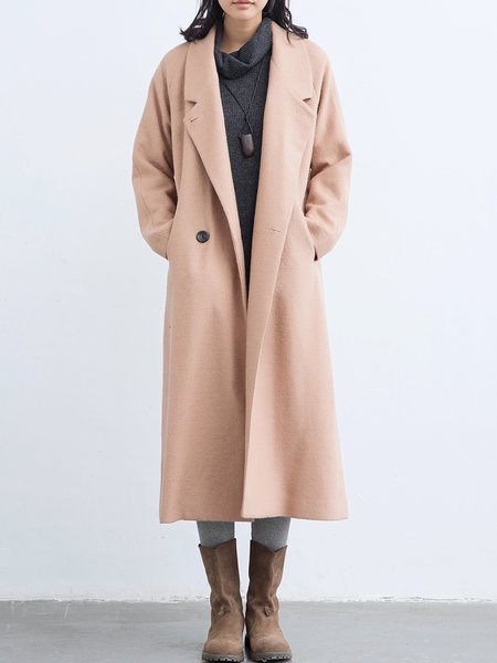 Pockets Buttoned Polyester Long Sleeve Coat