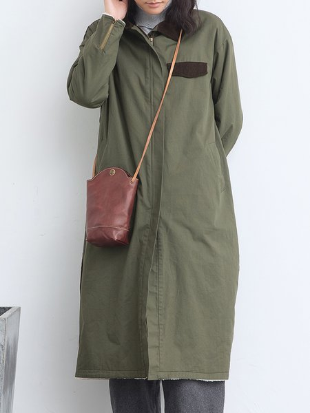 Army Green Cotton Color-block Long Sleeve Coat