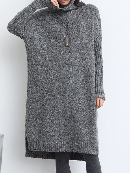 Deep Gray Casual Asymmetric Turtleneck Sweater Dress