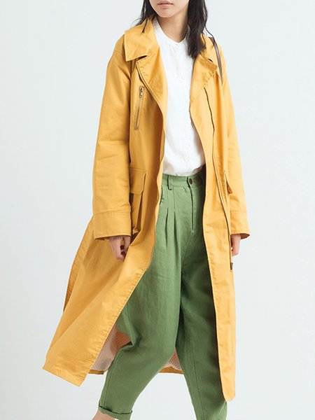 Long Sleeve Cotton Pockets Trench Coat