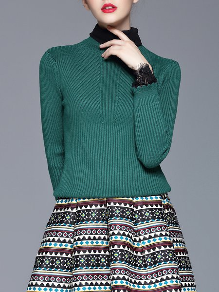 Green Ribbed Sheath Stand Collar Knitted Sweater