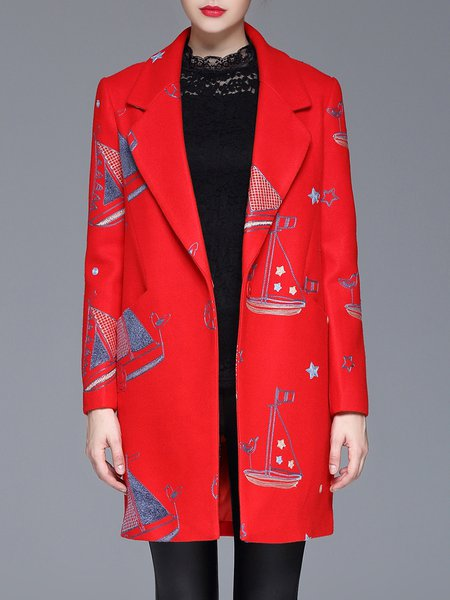 Red Long Sleeve Embroidered Polyester H-line Coat