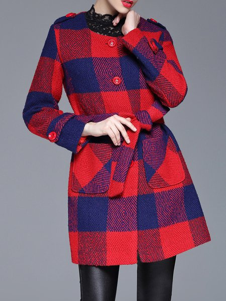 Red Casual Wool Blend Color-block Coat