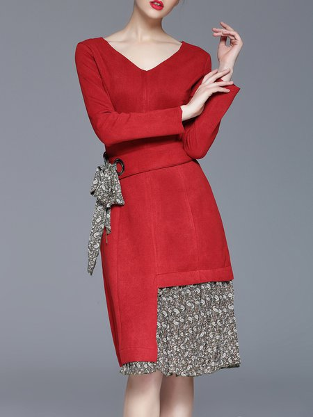 Red V Neck Casual Paneled Midi Dress with Belt