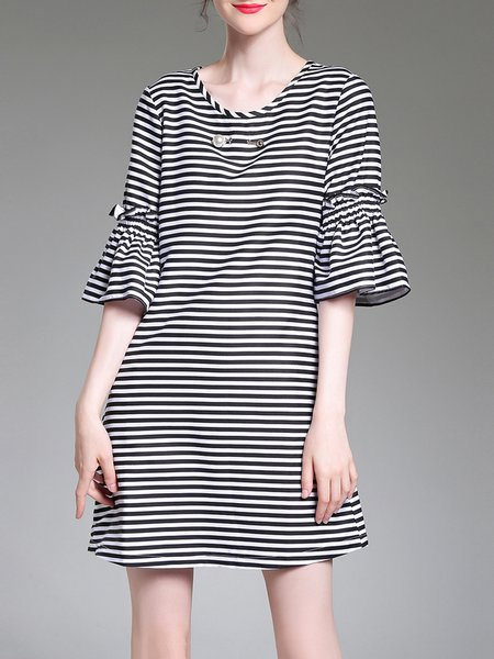Black Ruffled Stripes Casual Mini Dress