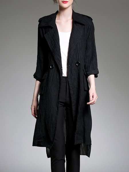 Black Pockets Casual Asymmetric Coat