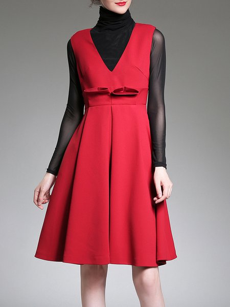 Red Solid Sleeveless A-line Polyester Midi Dress